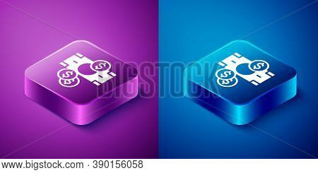 Isometric Stacks Paper Money Cash And Coin Money With Dollar Symbol Icon Isolated On Blue And Purple