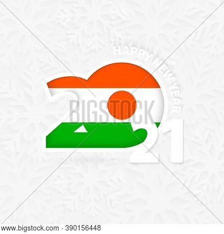 Happy New Year 2021 For Niger On Snowflake Background. Greeting Niger With New 2021 Year.