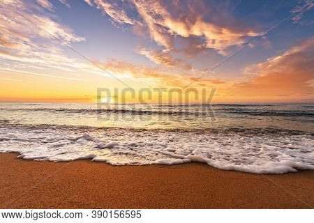 Landscape With Sea Sunset On Beach. Sunrise Shot!
