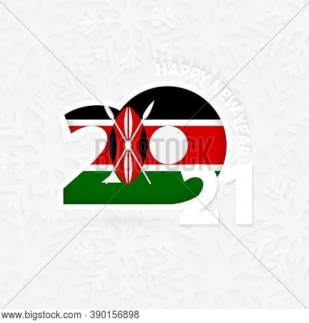 Happy New Year 2021 For Kenya On Snowflake Background. Greeting Kenya With New 2021 Year.