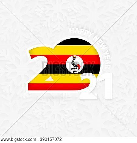 Happy New Year 2021 For Uganda On Snowflake Background. Greeting Uganda With New 2021 Year.