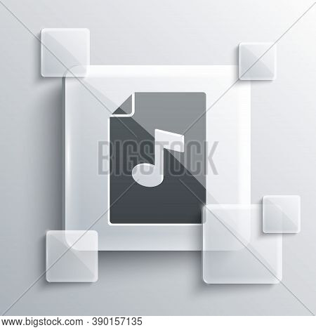 Grey Music Book With Note Icon Isolated On Grey Background. Music Sheet With Note Stave. Notebook Fo