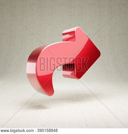Share Icon. Gold Glossy Share Symbol Isolated On White Concrete Background. Modern Icon For Website,