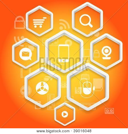 Modern social media abstract scheme with polygonal frames