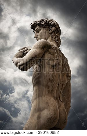 Closeup Of Statue Of The David By Michelangelo Buonarroti, Masterpiece Of Renaissance Sculpture In P