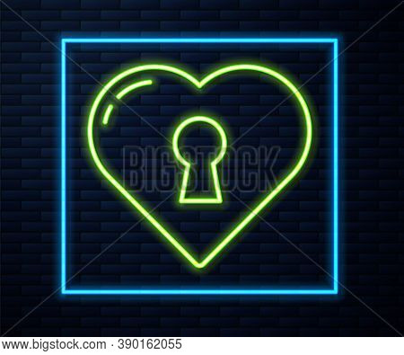 Glowing Neon Line Heart With Keyhole Icon Isolated On Brick Wall Background. Locked Heart. Love Symb