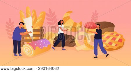 Abstract Bakery Concept With Tiny People Baking And Cooking Homemade Bread And Wide Choice Of Fresh