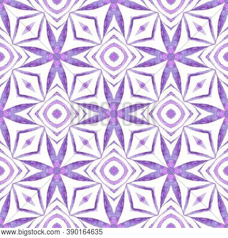 Textile Ready Posh Print, Swimwear Fabric, Wallpaper, Wrapping.  Purple Majestic Boho Chic Summer De