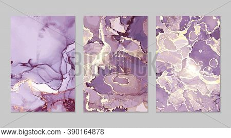 Violet And Gold Marble Abstract Backgrounds In Alcohol Ink Technique. Set Of Vector Stone Textures.