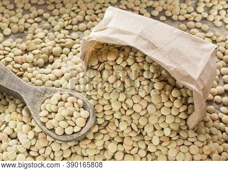 Organic Raw Lentils - Lens Culinaris. Text Space