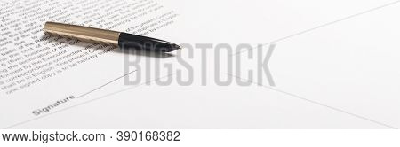Golden And Black Pen With Signature Space On The Papers Close Up, Banner, Copy Space For Text Availa