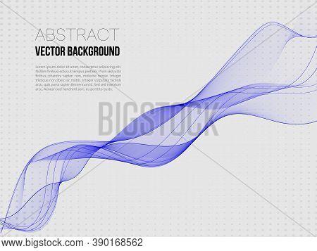 Abstract Vector Background, Transparent Waved Lines For Brochure, Flyer Design. Blue Smoke Wave.