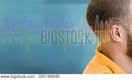 Hearing Test, Sound Waves Showing Modern Deafness Diagnostic Over Male Ear With Bte Hearing Aid