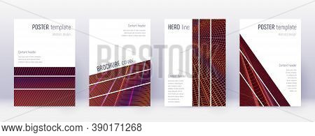 Geometric Brochure Design Template Set. Orange Abstract Lines On Wine Red Background. Alluring Broch
