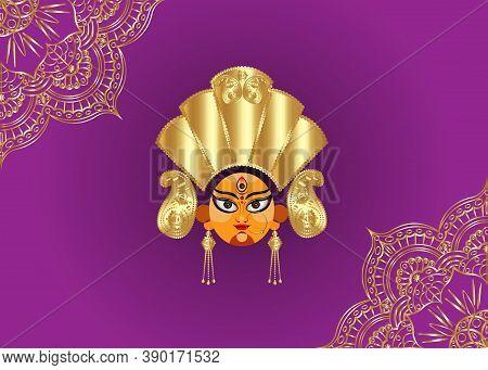 Happy Navratri, Goddess Durga Face In Happy Durga Puja Subh Navratri Indian Religious Header Banner