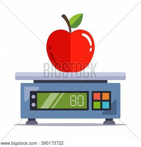 Weigh An Apple On An Electronic Scale In A Store. Flat Vector Illustration Isolated On White Backgro