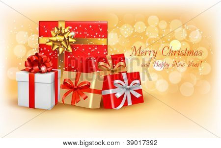 Christmas gold background with gift box and snowflake. Vector illustration.