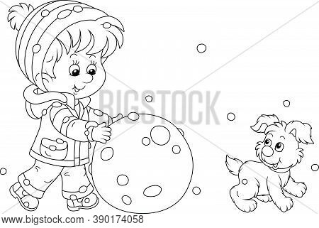 Cheerful Little Boy Walking With His Small Pup And Rolling A Big Snowball To Make A Funny Snowman, B