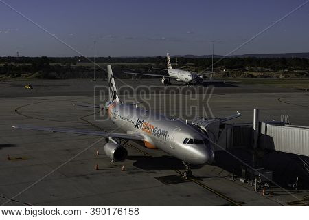 Perth, Australia - March 24th, 2020: Two Commercial Airliners On The Ground At Perth, Australia, Air