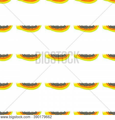 Illustration On Theme Big Colored Seamless Papaya, Bright Fruit Pattern For Seal. Fruit Pattern Cons