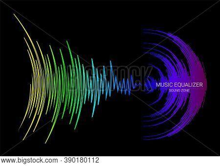 Black Music Background With Colorful Dynamic Waves. Vector Digital Media Waveform. Rainbow Sound Ban