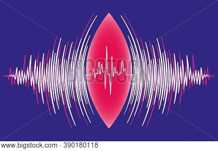 Abstract Sound Waves Oscillating Around Heart Pulse Background. Vector Radial Music Technology Poste