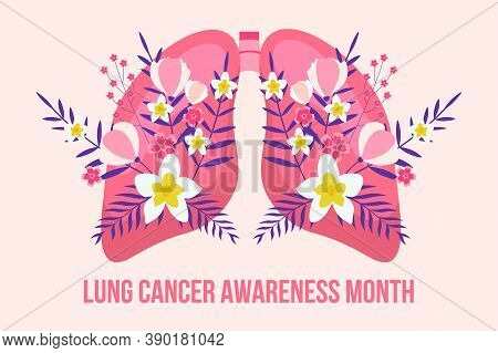 Lung Cancer Awareness Month Concept Vector. Pulmonary Fibrosis, Tuberculosis Illustration For Websit