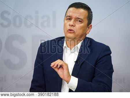 Bucharest, Romania - August 30, 2020: Sorin Grindeanu First Vice President Of Psd, Answer To The Pre