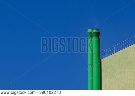 Bucharest, Romania - September 07, 2020 The Chimneys Of The Cooking Installations Of A Fast Food Res