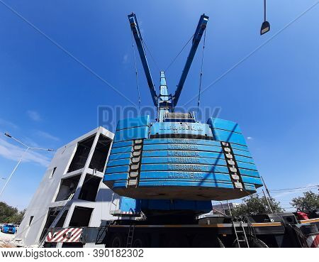 Bucharest, Romania - August 26, 2020: Many 15-ton Counterweights Are Mounted On A Heavy-duty Liebher