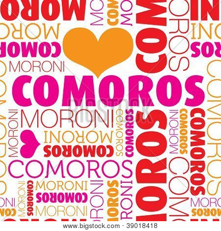 I love Comoros Moroni seamless typography background pattern in vector