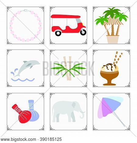 Thailand Symbols Set Vector Illustration Pearl Necklace, Tuk-tuk, Palm Trees, Dolphin, Bamboo, Ice C