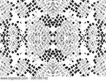 Seamless Predator Pattern. Python Leather Wild Print. Jungle Safari Illustration. Monochrome, Black