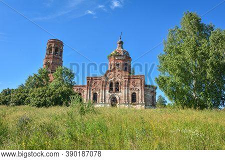 Old Brick Abandoned Orthodox Church Of The Trinity Church. Abandoned Trinity Church In The Village O