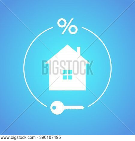 The Concept Of Mortgage, Home Loan, Buying Your House At Interest In A Mortgage. Vector Illustration