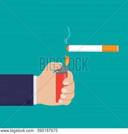 Hand Holding Gas Lighter And Lit A Cigarette Flat Design Vector Illustration