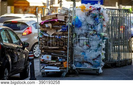 Bucharest, Romania - August 17, 2020: Stands Full Of Recyclable Packaging From A Supermarket On A Si