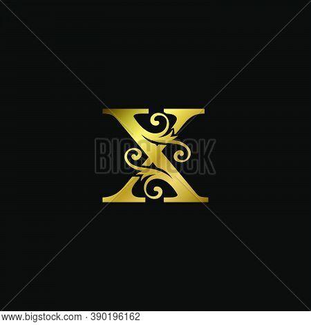 Golden X Initial Letter Luxury Logo Icon, Vintage Luxurious Vector Design Concept Alphabet Letter Fo