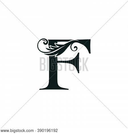 Monogram Initial Letter F Luxury Logo Icon, Luxurious Vector Design Concept Alphabet Letter For Vint