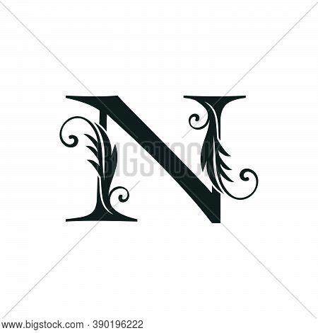 Monogram Initial Letter N Luxury Logo Icon, Luxurious Vector Design Concept Alphabet Letter For Vint