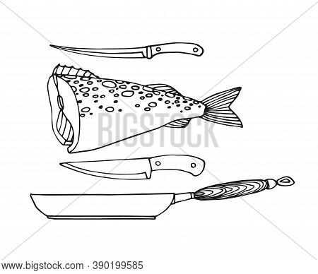 Cod, Frying Pan, Fish Knife, Decorative Elements For Restaurant Seafood Menu, Vector Illustration Wi