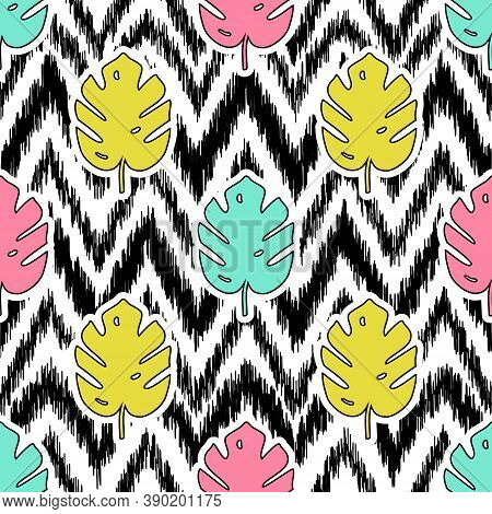 Vector Seamless Pattern With Monstera Palm Leaves And Ikat Ethnic Background. Trendy Summer Tropical