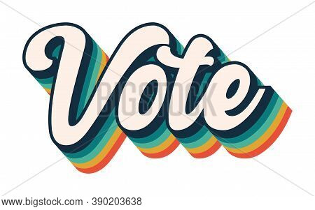Vote Graphic, Rainbow Voting Retro Font, President Election, Political Democracy, Design Font Stripe