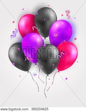 Vector Set Of Glossy Air 3d Flying Balloons, Ribbons And Confetti. Party Decoration For Birthday, An