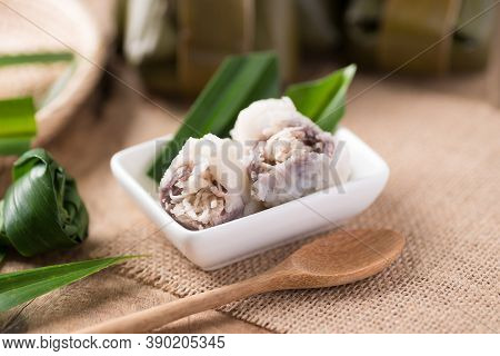 Thai Dessert (khanom Sai Sai), Steamed Rice Flour Mixed With Coconut Cream Stuffed With Sweet Sliced