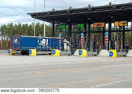 Truck Entering Toll Plaza Point At Toll Road, Tver Region, 15/10/2020