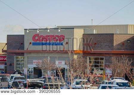 Calgary Alberta, Canada. Oct 17, 2020. Costco Is An American Multinational Corporation Which Operate