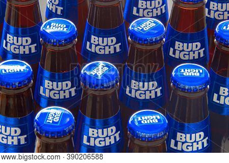 Calgary Alberta, Canada. Oct 16, 2020. Several Bud Light Beer Bottles.