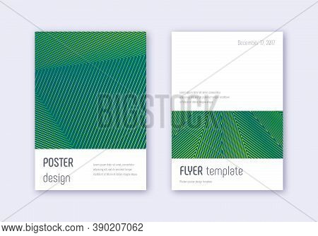 Minimalistic Cover Design Template Set. Green Abstract Lines On Dark Background. Ecstatic Cover Desi