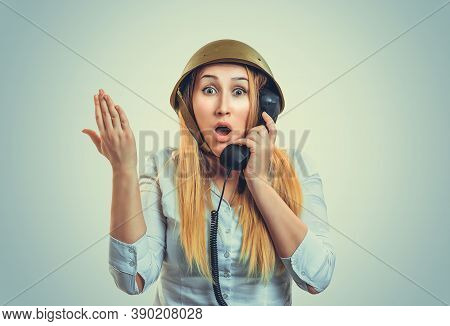 Woman In Military Armor Cap Equipment Of Of World War Ii Period Talking At Telephone Shocked, Hand,